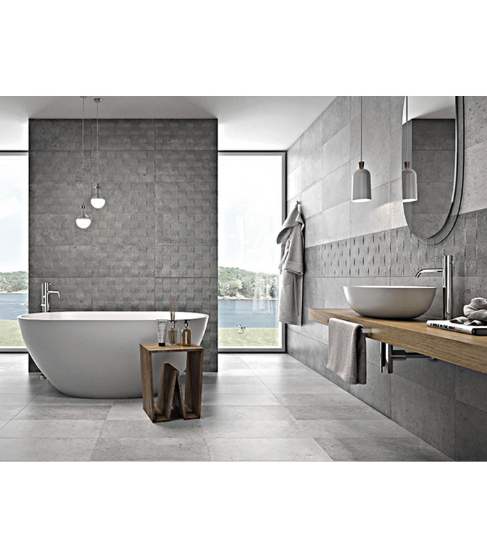 HARD GREY CONCRETE PORCELAIN TILES 30 CM X 60 CM