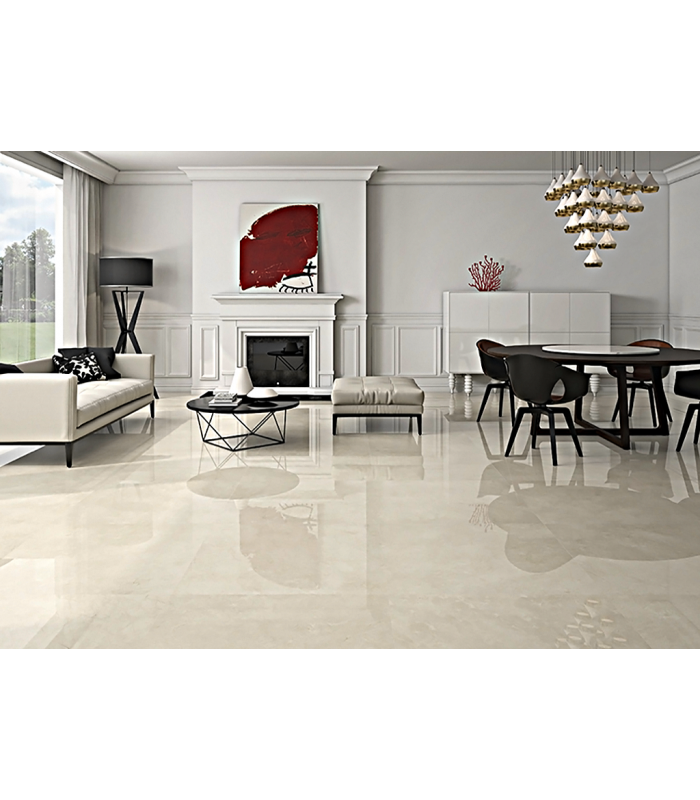 STRAUSS CREAM POLISHED MARBLE PORCELAIN TILES 90 CM x 90 CM